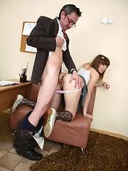 Sally covers her teacher's cock with warm saliva.