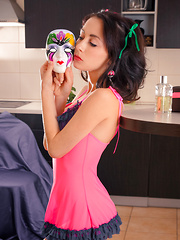 Her deep passion and lust is expressed to her mask as she flows in the joy of her sexy body and her naughty deeds.